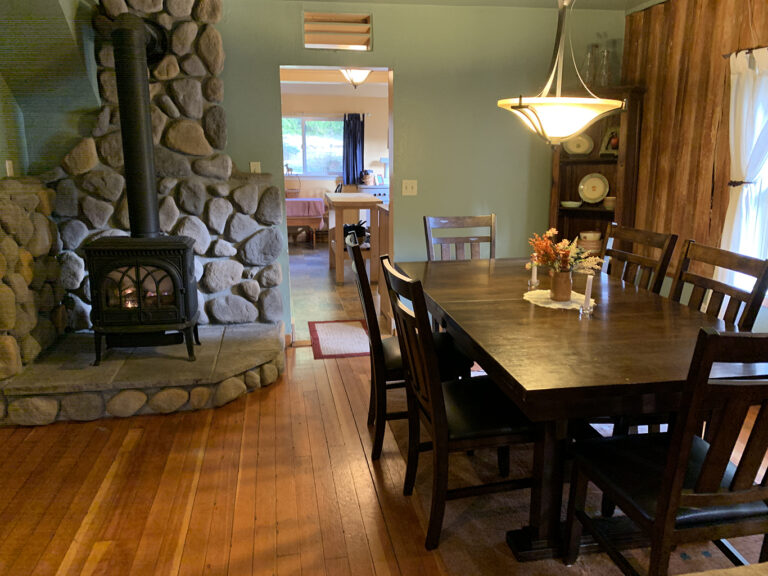 Big dining table | Gas fireplace