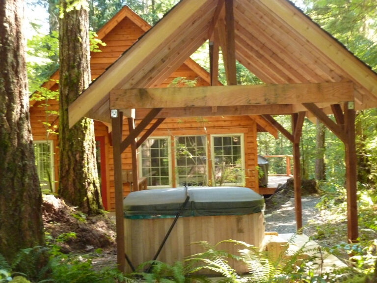 Hot tub is right behind the cabin