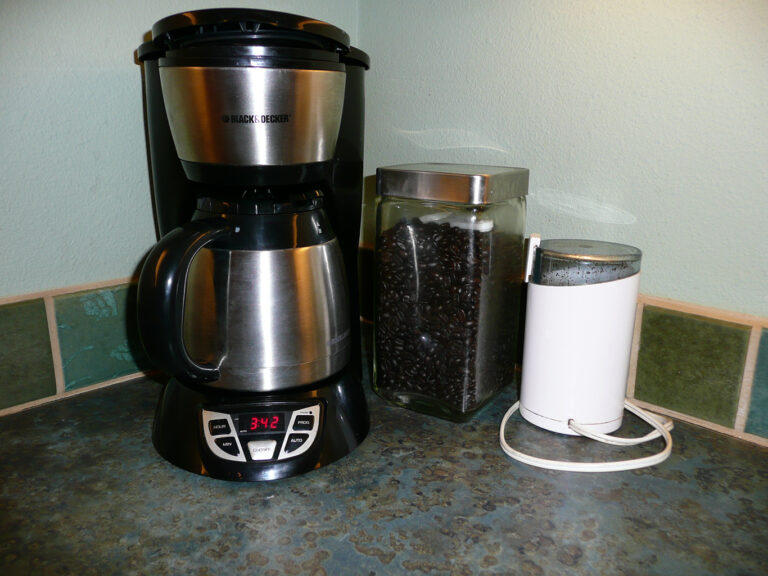 Coffee maker, frinder and whole bean French roast