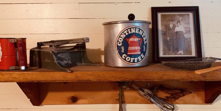 Vintage restaurant items found in attic.
