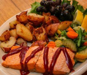 Blackberry salmon dinner