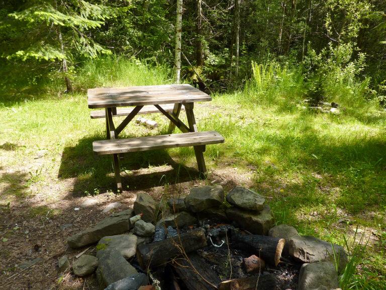 Picnic table at creek